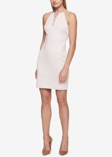 Guess Lace-Up Halter Sheath Dress