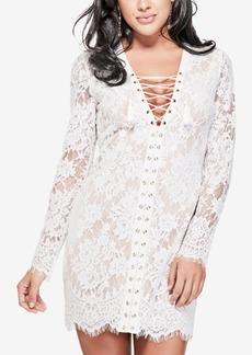 Guess Lace-Up Lace Mini Dress