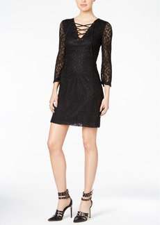 Guess Lace-Up Lace Sheath Dress