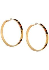 "Guess Large Gold-Tone Cheetah Faux Fur Animal Print Hoop Earrings 2-1/2"""