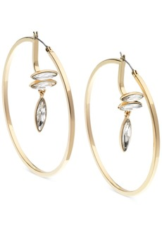 Guess Large Gold-Tone Crystal Drop Hoop Earrings 2-3/8""