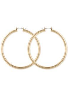 "Guess Large Textured Tubular Hoop Earrings 3"""