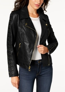 Guess Leather Lace-Up Moto Jacket