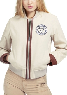 Guess Leather-Trim Bomber Jacket
