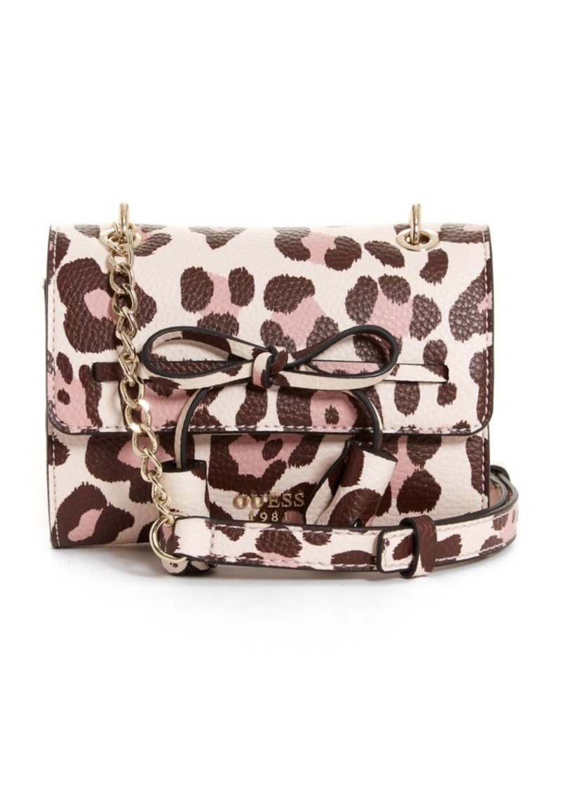 Guess Leila Leopard Print Crossbody Bag