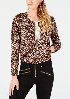 Guess Leopard-Print Bomber Jacket
