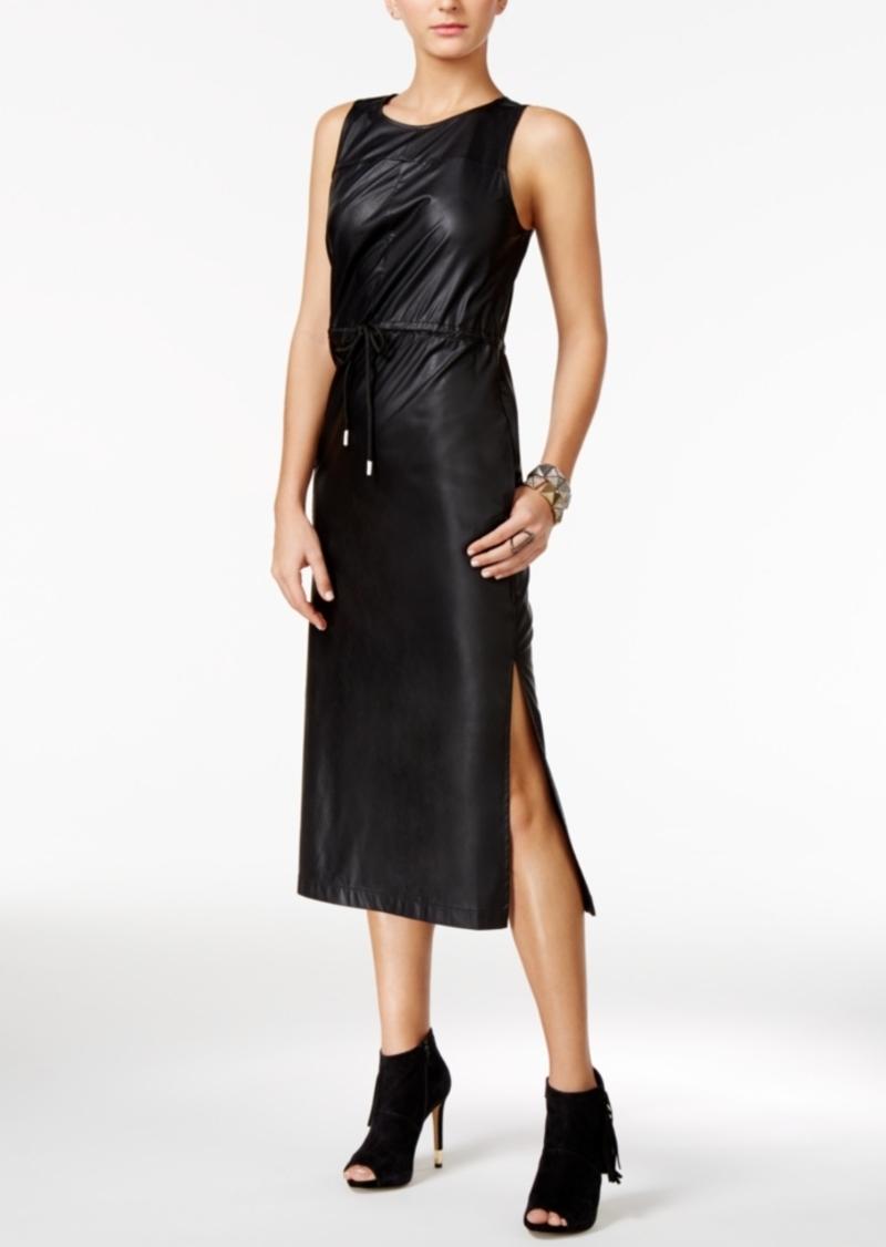 7c6c8bce4dde SALE! GUESS Guess Levin Faux-Leather Midi Dress