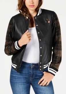Guess Lexia Embellished Faux-Leather Varsity Jacket
