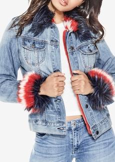 Guess Linda Faux-Fur-Trim Denim Jacket