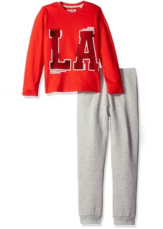 GUESS Boys' Little Long Sleeve Graphic Tee Shirt and Knit Pant Set