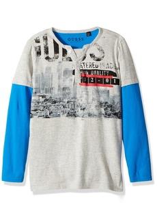 GUESS Boys' Little Long Sleeve Henley Graphic T Shirt