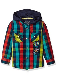 Guess Boys' Little Long Sleeve Hooded Woven Plaid Shirt