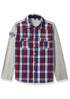 GUESS Boys' Little Long Sleeve Plaid Shirt Necessary RED White Macro Gingham Combo 6X/7