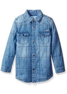 GUESS Little Boys' Long Sleeve Quilted Denim Shirt