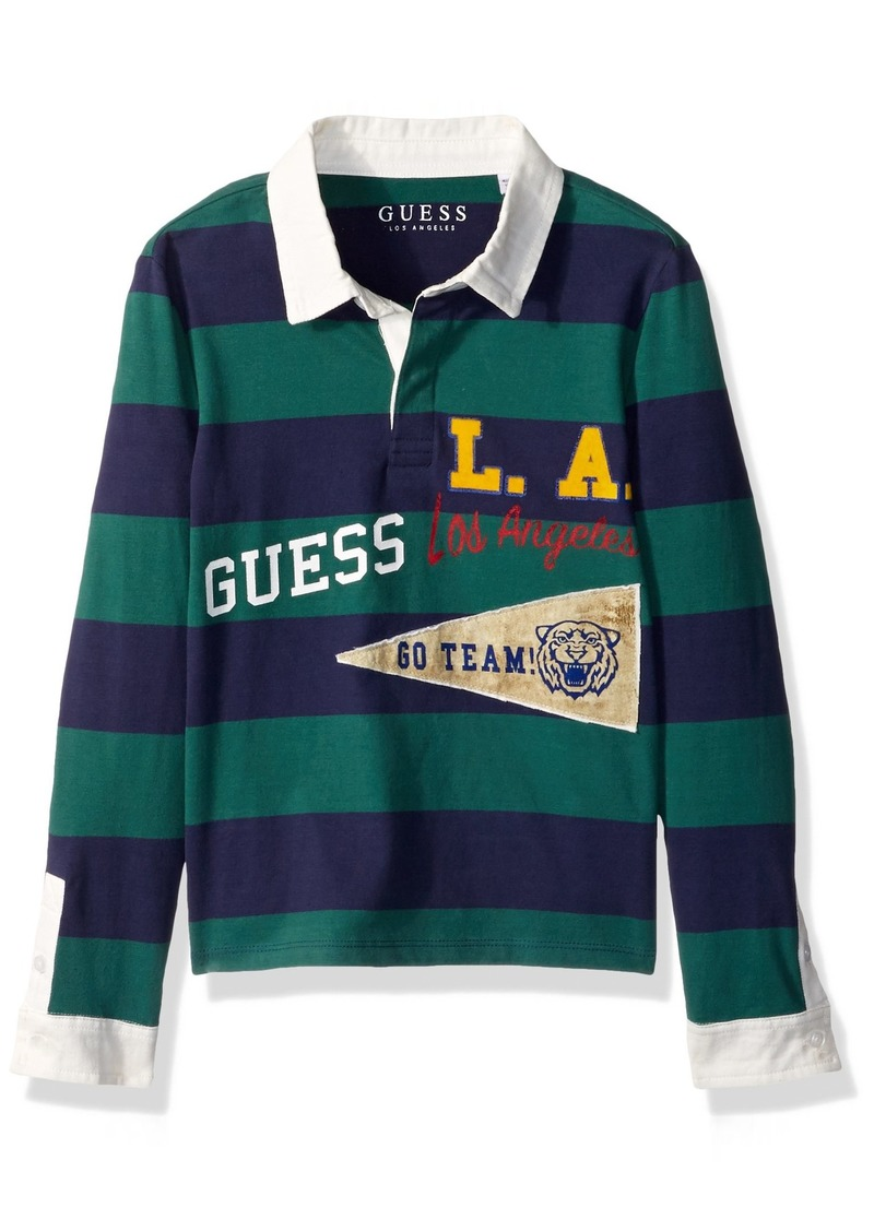 33da7b6097aa GUESS GUESS Boys  Little Long Sleeve Striped Varsity Polo Maxine ...