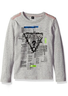 GUESS Little Boys' Long Sleeve Triangle Logo Graphic T-Shirt