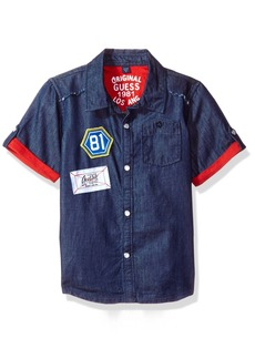 GUESS Little Boys' Short Sleeve Denim Shirt with Patches  6X/7