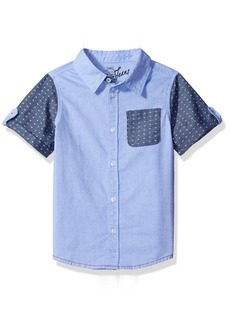 158a317222424 GUESS Little Boys  Short Sleeve Two Tone Denim Chambray Shirt