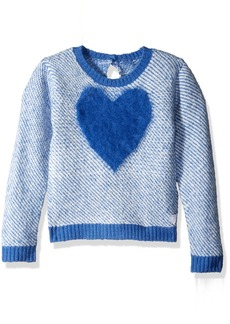 GUESS Girls' Little Birds Eye Fuzzy Sweater with Knit Heart On Front