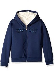 GUESS Girls' Little Brushed Cotton Fleece Logo Hoodie