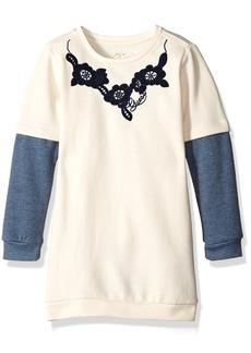 GUESS Little Girls' Crochet Overlay Fleece Tunic Dress