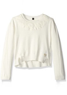 GUESS Girls' Little Crochet Overlay Sweater