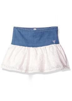 GUESS Little Girls' Denim and Eyelet Skirt