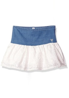 GUESS Little Girls' Denim and Eyelet Skirt