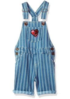 Guess Girls' Little Denim Shortall ENZIME Stripe WASH