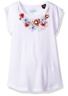 GUESS Little Girls' Floral Detail Short Sleeve Tee Shirt