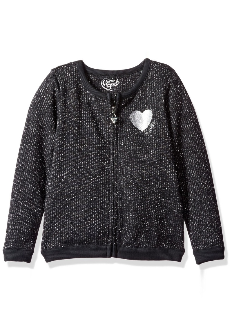 GUESS Little Girls' Glitter Knit Carigan Sweater