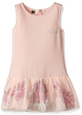 GUESS Girls' Little Heavy Stretch Jersey Dress with Mesh and Sequin Skirt