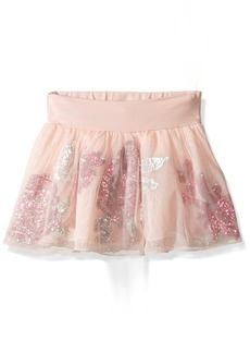GUESS Little Girls' Jersey and Mesh with Sequin Flowers Skort