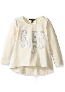 GUESS Girls' Little Long Sleeve Cotton Jersey Sequin Logo Tunic  6X/7