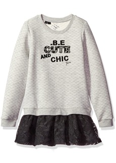 GUESS Girls' Little Long Sleeve Embroidered Quilted Fleece and Lace Dress