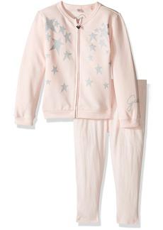GUESS Little Girls' Long Sleeve Furry Cardigan and Legging Set