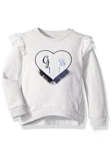 GUESS Little Girls' Long Sleeve Heart Applique Fleece Pullover