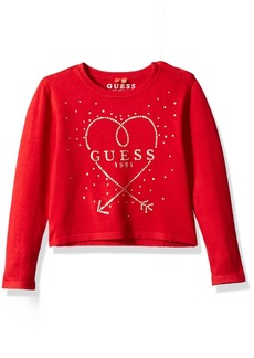GUESS Girls' Little Long Sleeve Heart Sweater red hot