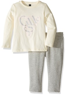 GUESS Girls' Little Long Sleeve Logo Tee and Jegging Set