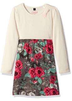 GUESS Little Girls' Long Sleeve Printed Viscose Stretch Jersey Dress  6X/7