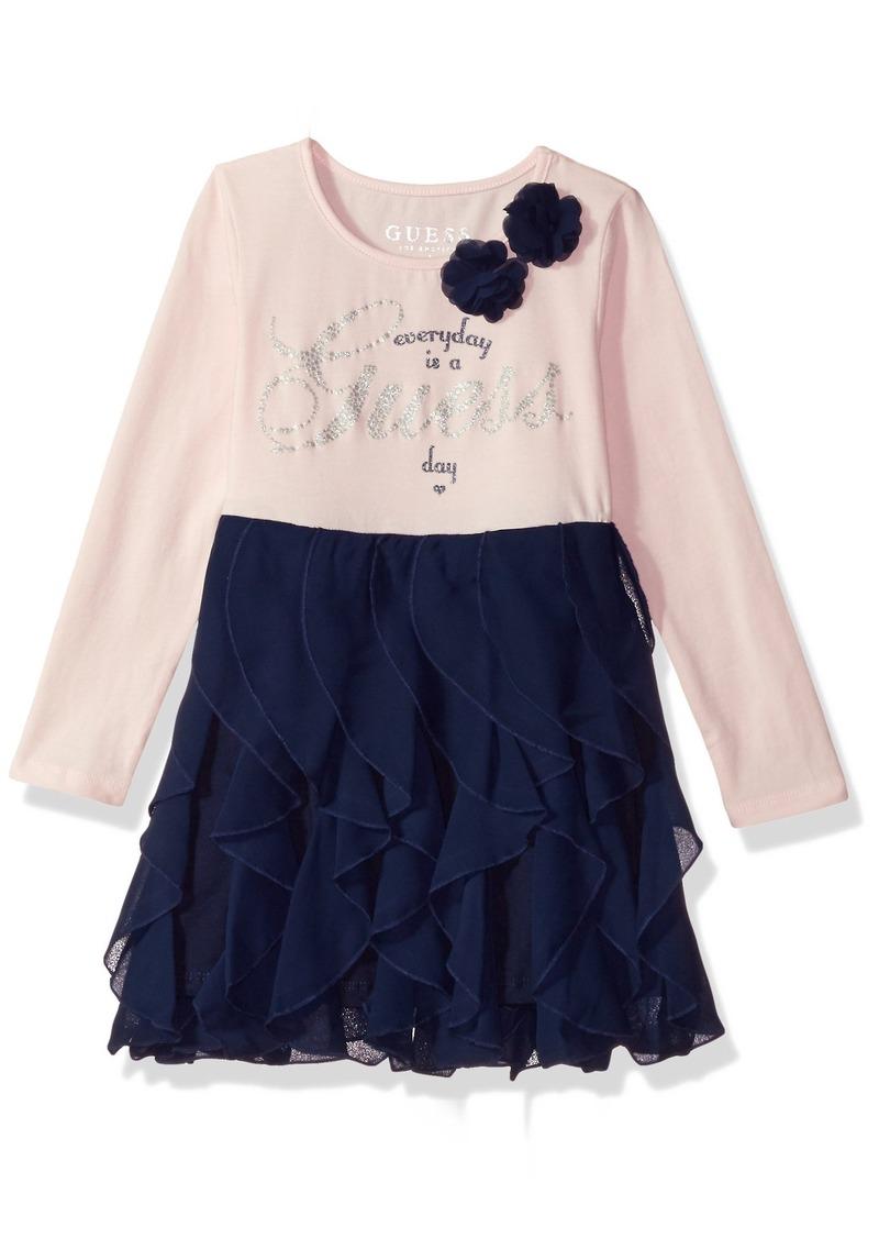 b24da7e8a On Sale today! GUESS GUESS Girls' Little Long Sleeve Ruffle Dress