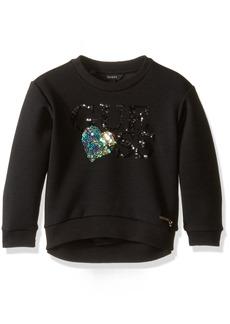 GUESS Little Girls' Long Sleeve Scuba Knit Sequin Logo Top