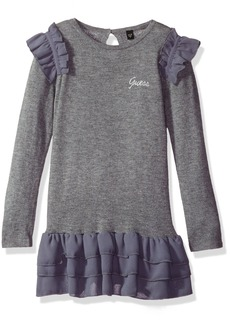 GUESS Girls' Little Long Sleeve Sweater Dress with Chiffon Ruffled Hem
