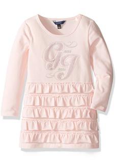 GUESS Little Girls' Long Sleeve Viscose Stretch Jersey Ruffled Dress