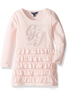GUESS Girls' Little Long Sleeve Viscose Stretch Jersey Ruffled Dress