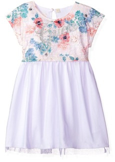 GUESS Girls' Little Printed Lace and Tulle Dress