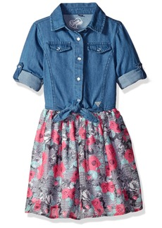 GUESS Little Girls' Roll up Sleeve and Printed Tulle Dress