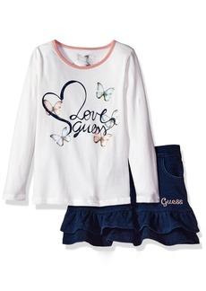 GUESS Little Girls' Set: Butterfly T-Shirt + Skirt