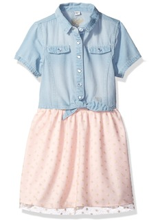 GUESS Little Girls' Short Sleeve Denim and Glitter Tulle Dress