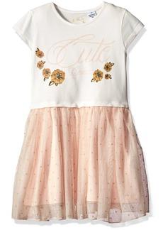 GUESS Girls' Little Short Sleeve Dress with Chiffon Botton